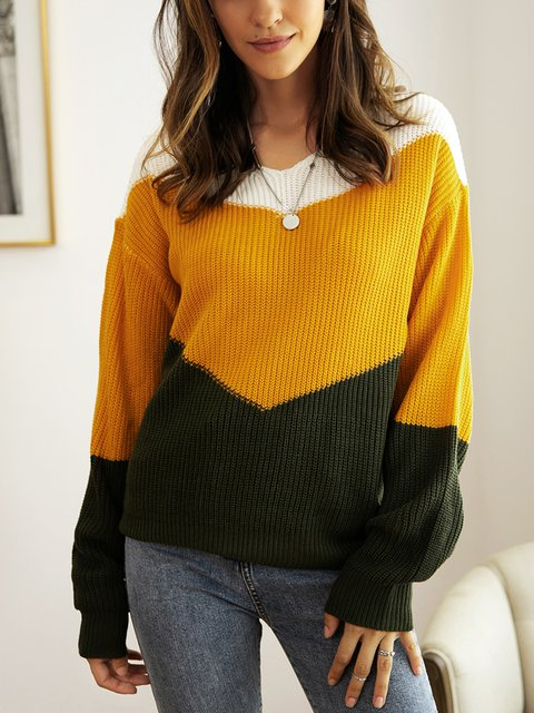 Yellow Cotton-Blend Sweater