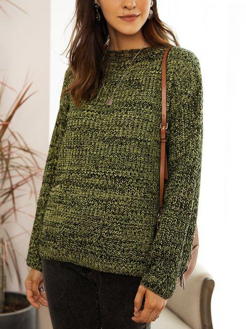 Coffee Paneled Long Sleeve Cotton-Blend Sweater