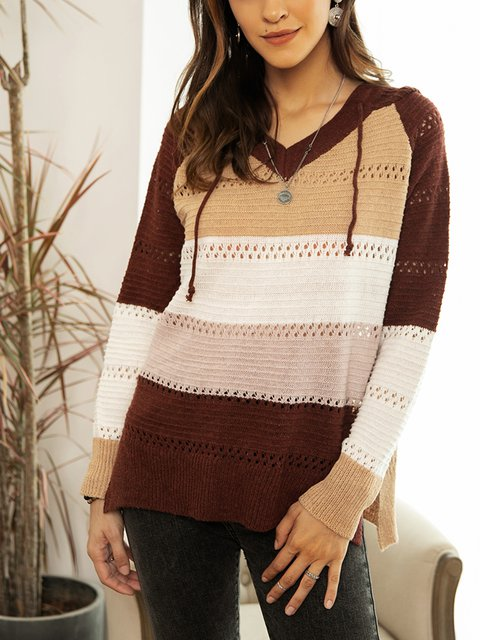 Coffee Cotton-Blend Hoodie Holiday Sweater
