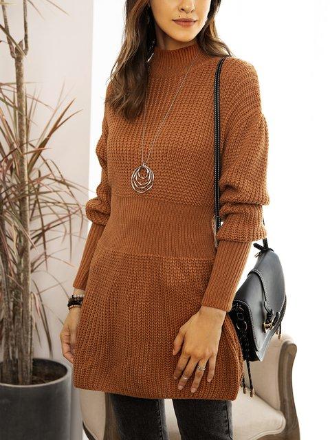 Coffee Long Sleeve Casual Paneled Sweater