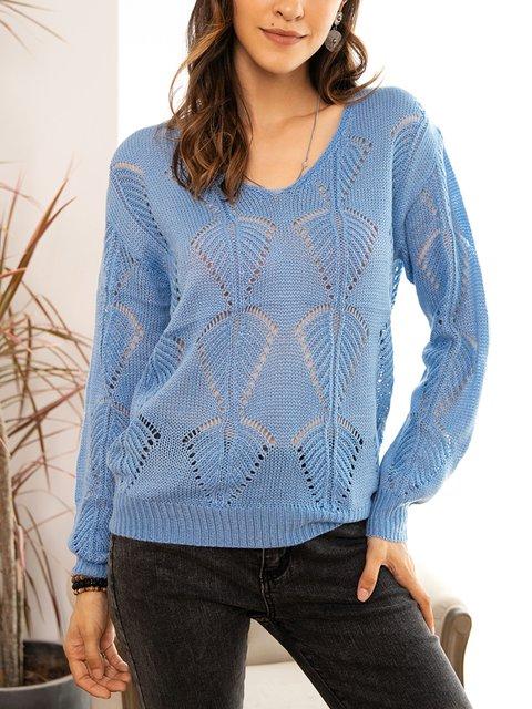 Blue Cotton-Blend Crew Neck Long Sleeve Sweater