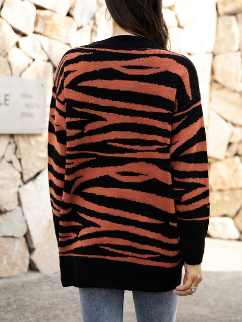 Coffee Cotton-Blend Leopard Boho Paneled Sweater