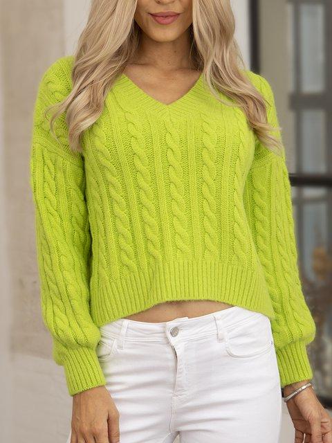 Green Long Sleeve V Neck Cotton-Blend Plain Sweater