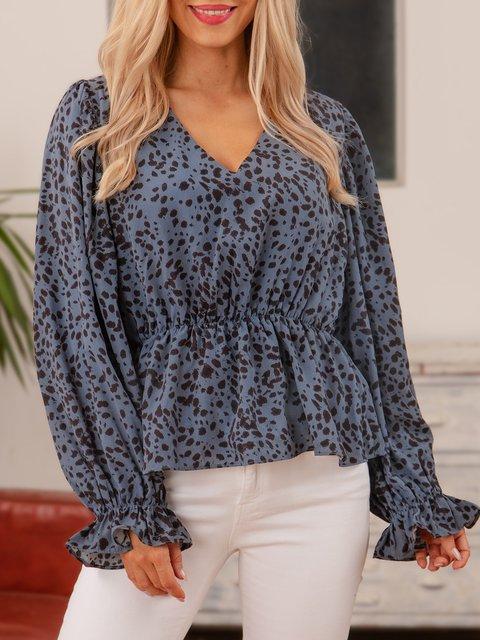 Blue Cotton-Blend Polka Dots Long Sleeve Shirts & Tops