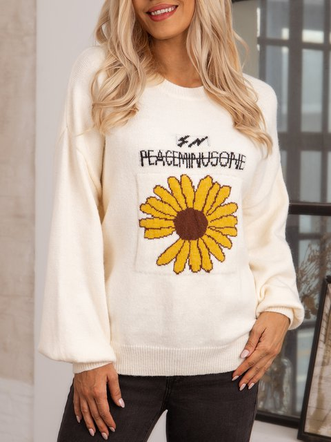 Apricot Floral Crew Neck Casual Long Sleeve Sweater