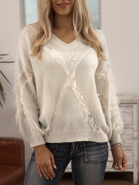 White Cotton-Blend Crew Neck Plain Long Sleeve Sweater