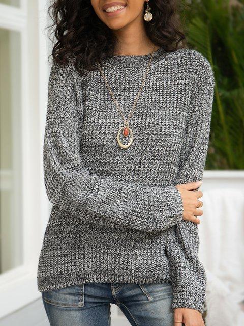 Gray Crew Neck Plain Casual Sweater