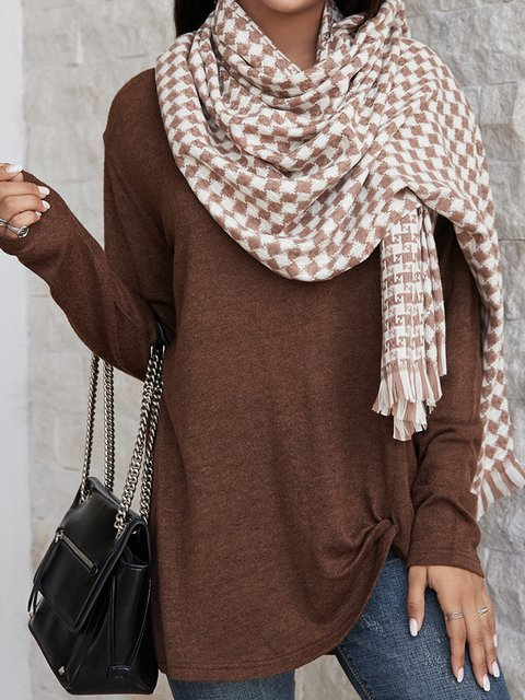 Coffee Casual Plain Scarves & Shawls
