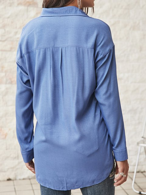 Blue Paneled Cotton-Blend Shawl Collar Holiday Shirts & Tops