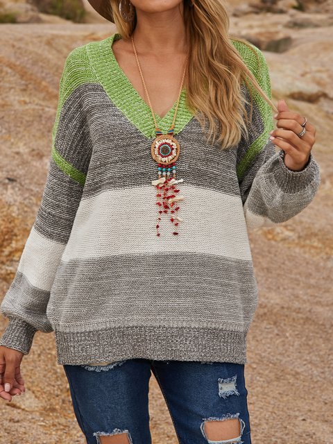Cotton-Blend Long Sleeve Boho Sweater