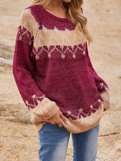 Red Cotton-Blend Sweater