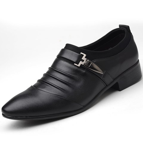 Flat Heel Buckle Artificial Leather Winter Office  Career Formal Shoes