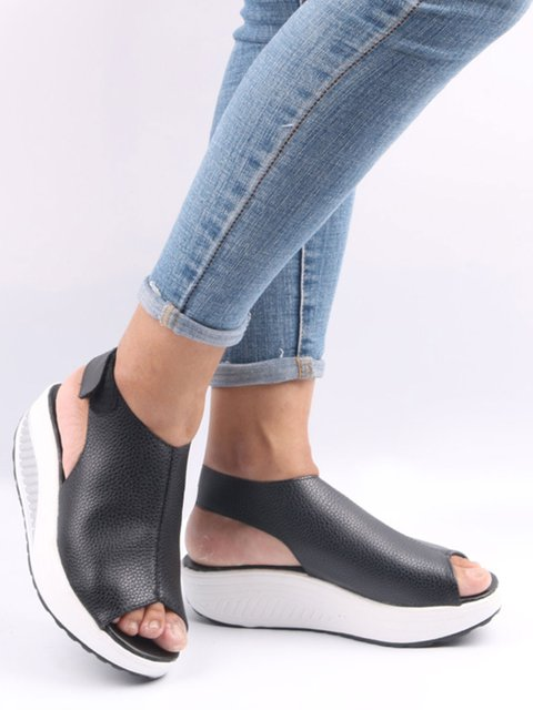 Women Solid Color Ankle Strap Peep Toe Wedges