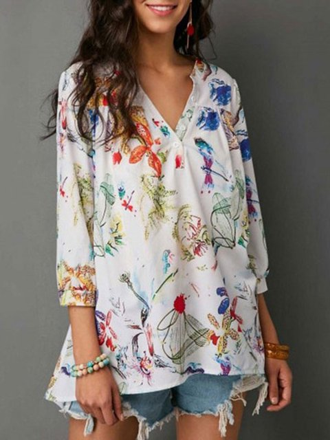 Casual Cotton -print V neck Linen Blouse