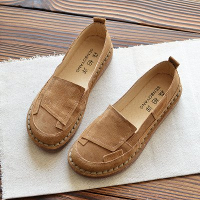 Cow Split Leather Daily Casual Women Flat Heel Color Block Loafers