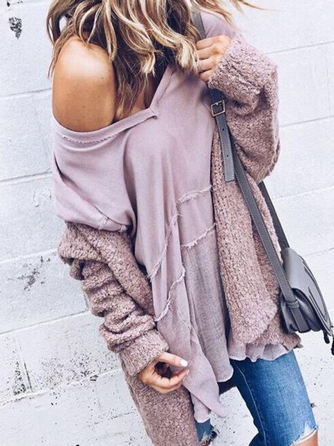 Long Plain wild Sleeve loose cardigan Casual Mohair Fashion RqEZn