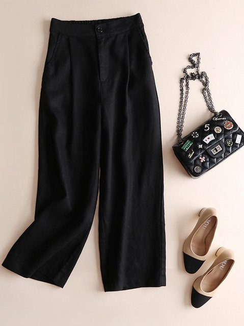 Solid Casual Bottoms Women Pants