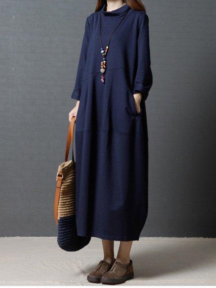 Women Long Sleeve Basic Cotton Pockets Casual Dress