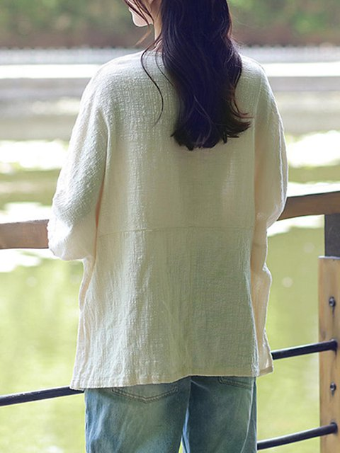 Sleeve Cotton Solid Blouse Cotton Long Solid SIqf8wn