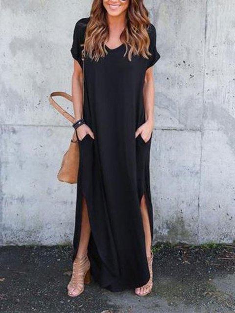 V Neck Short Sleeve Casual Dresses