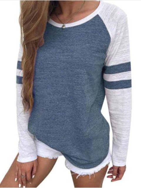Round Neck Paneled Casual Plus Size Striped T-Shirt