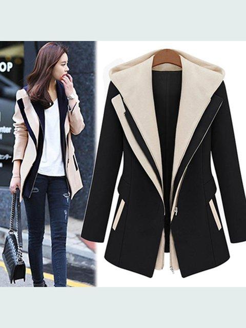 Women Lapel Color-Block Slim Fit Hooded Winter Coat