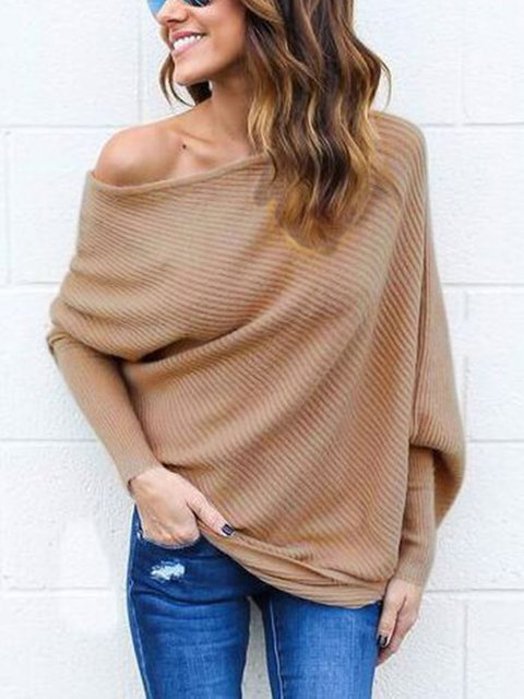 Knitted Sexy One Shoulder Batwing Plus Size Sweater