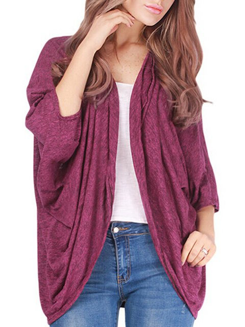 Batwing Casual Cotton Solid Cardigan Casual Batwing xqYz4rx0