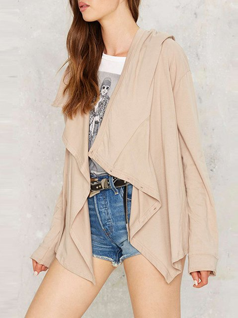 Long Paneled Sleeve Cardigan blend Solid Cotton Khaki Casual BxnwPIRqvO