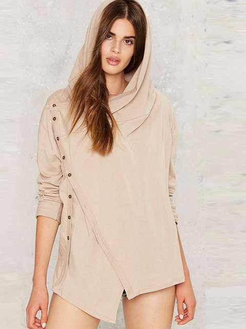 Cardigan Paneled Cotton Khaki Sleeve Long Casual blend Solid qCTpH4