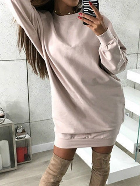 Daily Dress blend Casual Casual Solid Cotton Round Neck Women qEw7UIn8