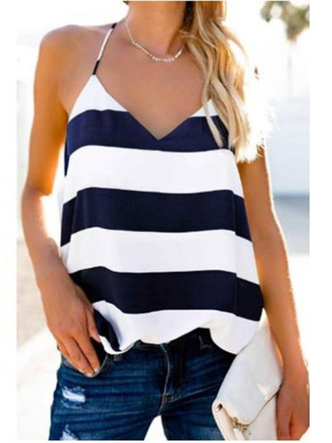 Spaghetti Stripes V Neck Summer Beach Tanks Camis