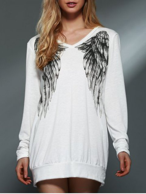 Wings Print V Neck Simple & Basic T-Shirts