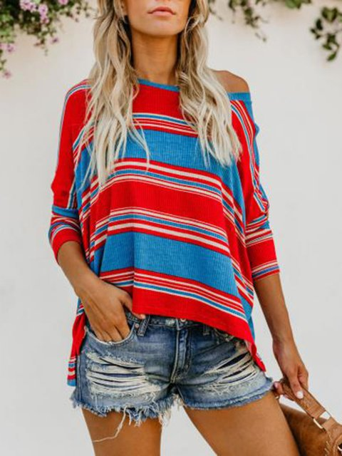Red-Blue Long Sleeve Knitted Round Neck Casual T-Shirt