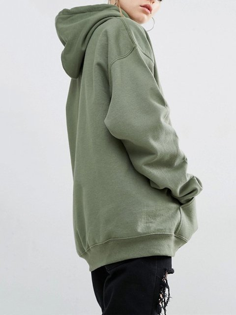 Cotton-blend Batwing Casual Hoodie Plain Hoody
