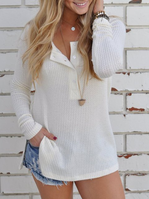 Round Neck Long Sleeve Plain Casual T-Shirt