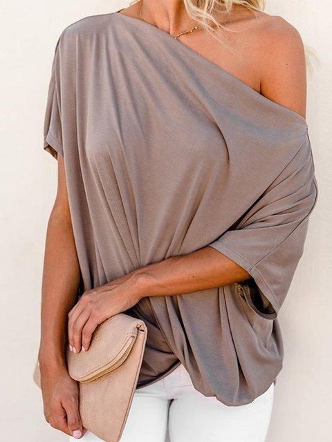Half Sleeve Plain Casual One Shoulder Blouse