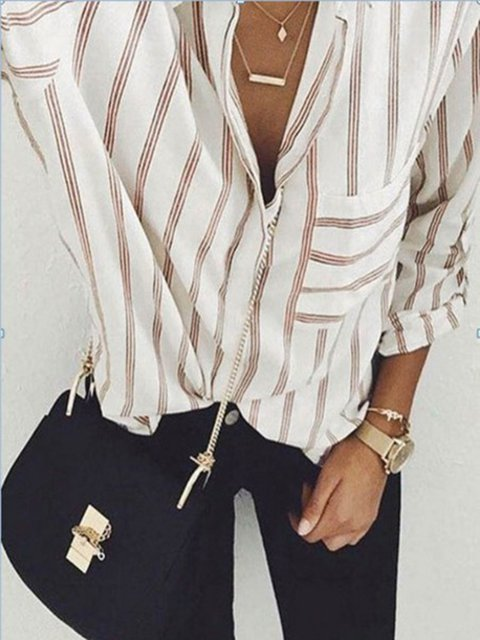 White Long Sleeve Lapel Casual Striped Shirt