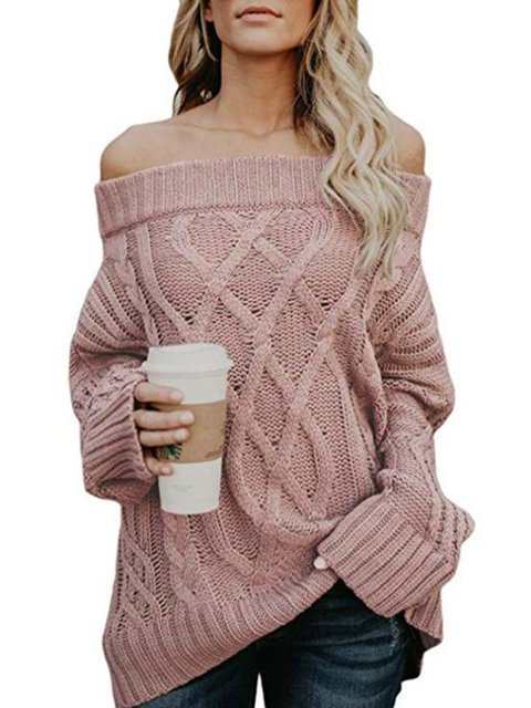 Plain Casual Cotton-blend Off Shoulder Long Sleeve Sweater