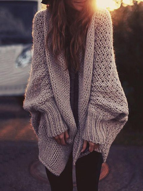 Cotton Long Sleeve Casual Knitted Cardigan