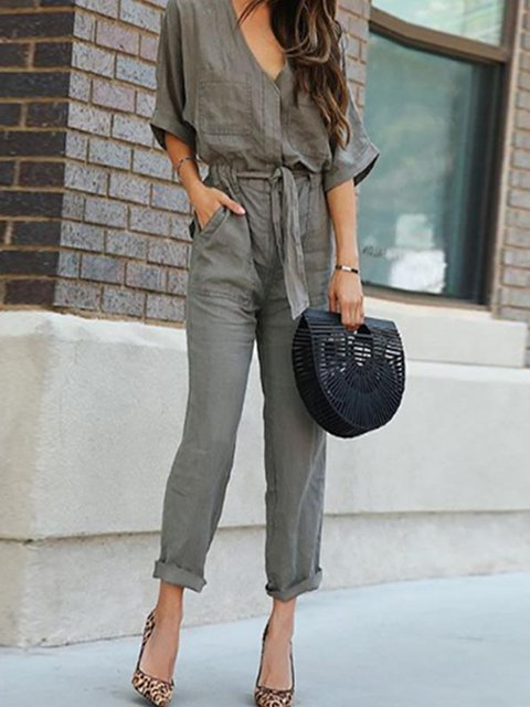 Army green Buttoned Casual Jumpsuit