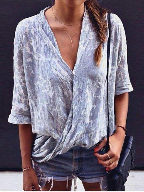 Color Block Cotton V-Neckline 3/4 Sleeves Blouses