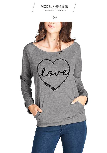 Sleeve blend Casual Long Cotton Neck Sweatshirt Round Letter dvYwzqY