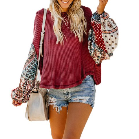 Chic Casual Sleeve Blouse Neck Round Patchwork Bell qXSw5S
