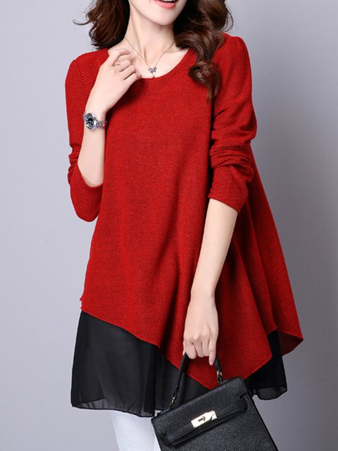 Red Asymmetrical Women Daily Casual Cotton Asymmetric Casual Dress