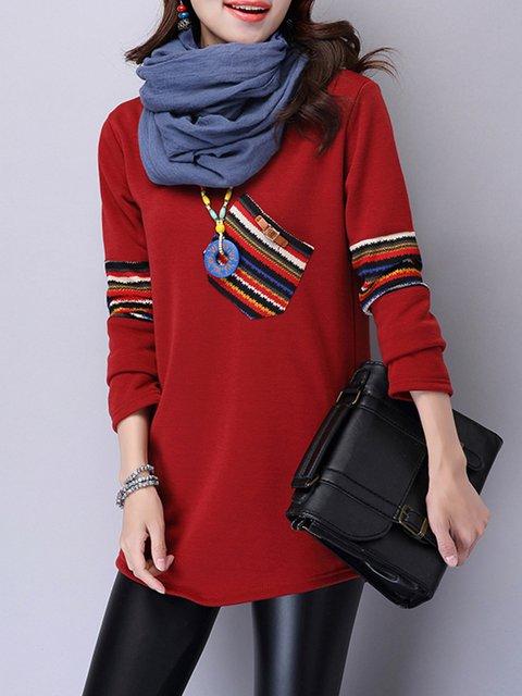 Red Cotton Crew Neck A-line Plus Size Winter Blouse