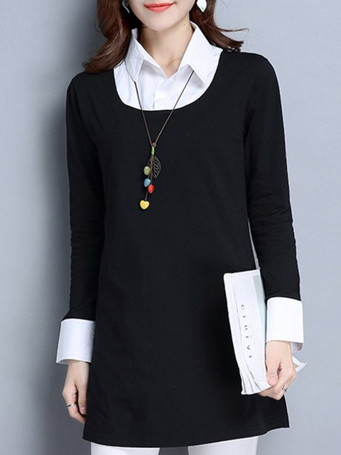 Black Cotton A-line Plus Size Winter Shirt Collar Blouse