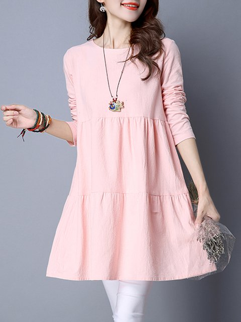 Women Daily Long Sleeve Linen Ruched Solid Casual Dress