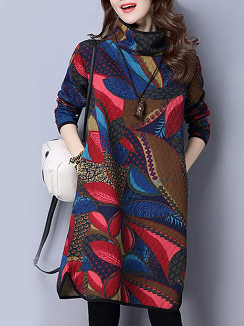 Shift Women Daily Vintage Long Sleeve Printed Casual Dress