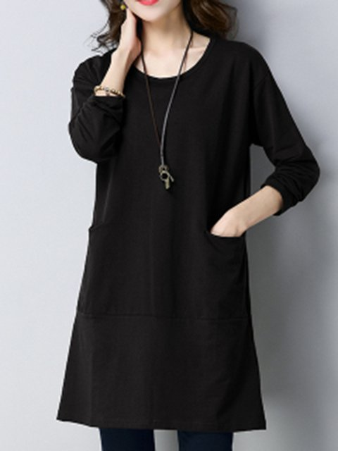 Women Daily Long Sleeve Casual Pockets Solid Casual Dress